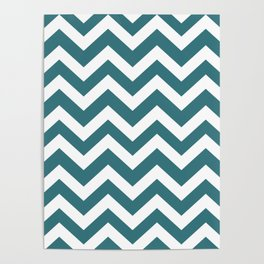 Ming - blue color -  Zigzag Chevron Pattern Poster