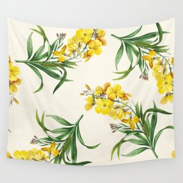 Yellow Cheiranthus Flower Vintage Illustration Wall Tapestry