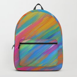 Color Overload Painting / Watercolor Hand Painted Tie-Dye Effect Gradient / Orange Yellow Blue Pink Backpack