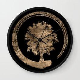 Enso Zen Circle and Tree - Gold on black Wall Clock