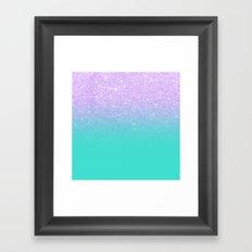 Modern mermaid lavender glitter turquoise ombre pattern Framed Art Print