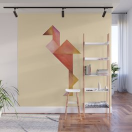 Tangram Flamingo Yellow Wall Mural