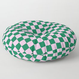 Cotton Candy Pink and Cadmium Green Checkerboard Floor Pillow