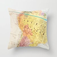 world maps Throw Pillows featuring Maps by Caroline Mint