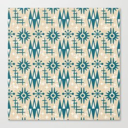 Mid Century Modern Atomic Space Age Pattern Beige Green Canvas Print