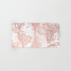 Rose Gold Pink Antique World Map by Nature Magick Hand & Bath Towel