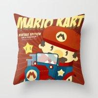 mario kart Throw Pillows featuring mario kart vintage by danvinci