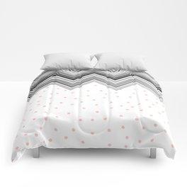 Geometrical black blush pink polka dots chevron Comforters