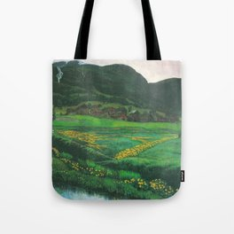 Idyllic Mountain and Meadow Landscape, A Clear Night in June by Nikolai Astrup Tote Bag
