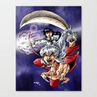 inuyasha Canvas Prints featuring Inuyasha & Kagome by MarioRojas