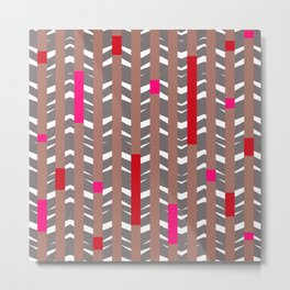 TRIBAL CHEVRON   mauve red Metal Print