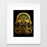 gold foil Framed Art Prints featuring Mandala StormTrooper - Gold Foil by Spectronium - Art by Pat McWain