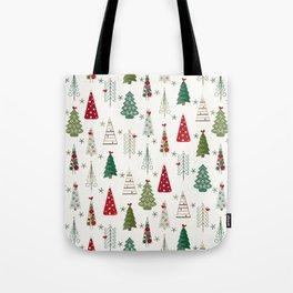 Scandinavian Christmas Trees Pattern - Red Green Tote Bag