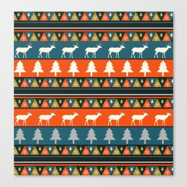 Festive Christmas deer pattern Canvas Print