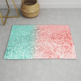 Summer Vibes Glitter #3 #coral #mint #shiny #decor #art #society6 Rug