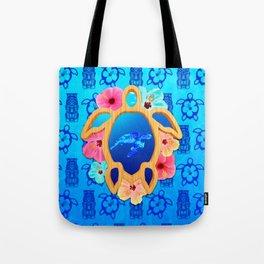 Hawaiian Swimming Turtle And Tiki Masks Tote Bag
