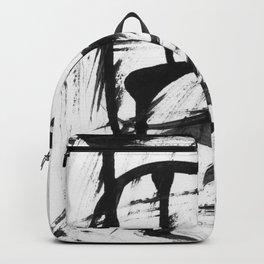 Black brush stripes Backpack