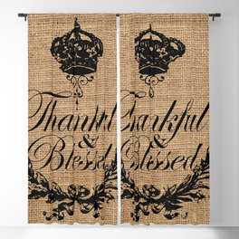 french country jubilee crown thanksgiving fall wreath beige burlap thankful and blessed Blackout Curtain