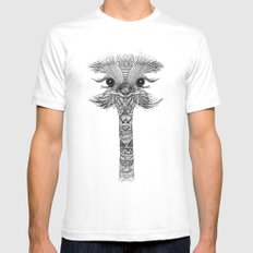 OSTRICH  White SMALL Mens Fitted Tee