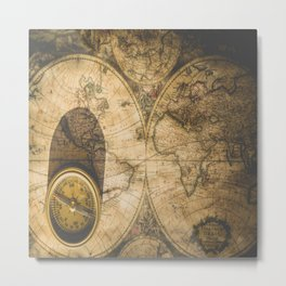 old nautical map with compass Metal Print