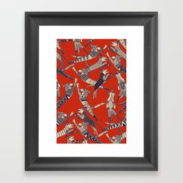 dog party retro Framed Art Print