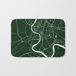 Bangkok Thailand Minimal Street Map - Forest Green and White Bath Mat