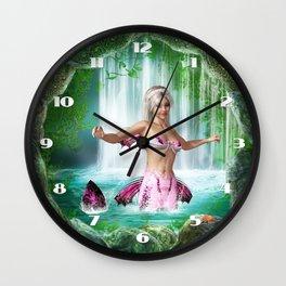 Pink Mermaid Wall Clock