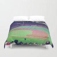 baseball Duvet Covers featuring baseball by courtneeeee