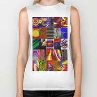 mosaic Biker Tanks featuring mosaic by donphil