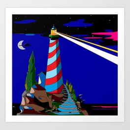A Night at the Lighthouse with Search Light Active Art Print