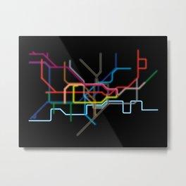 London: Neon Underground Metal Print
