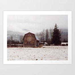 Winter Mountain Homestead Art Print