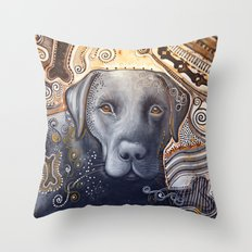 Rudy ... Abstract dog art, Black Labrador Throw Pillow