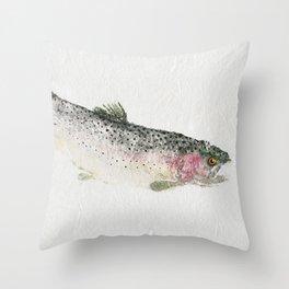 Rainbow Trout Dive - Gyotaku Throw Pillow