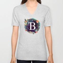 Personalized Monogram Initial Letter B Floral Wreath Artwork Unisex V-Neck