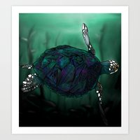 sea turtle Art Prints featuring Sea Turtle by Ben Geiger