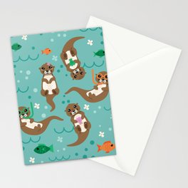Kawaii Otters Playing Underwater Stationery Cards