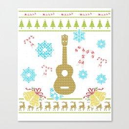 Ukelele Christmas Ugly Sweater Design Shirt Canvas Print