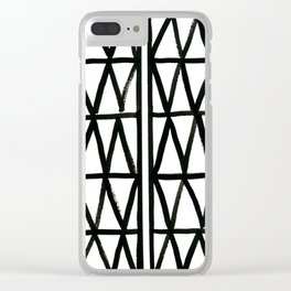 Brush and Ink II Mudcloth Pattern Clear iPhone Case
