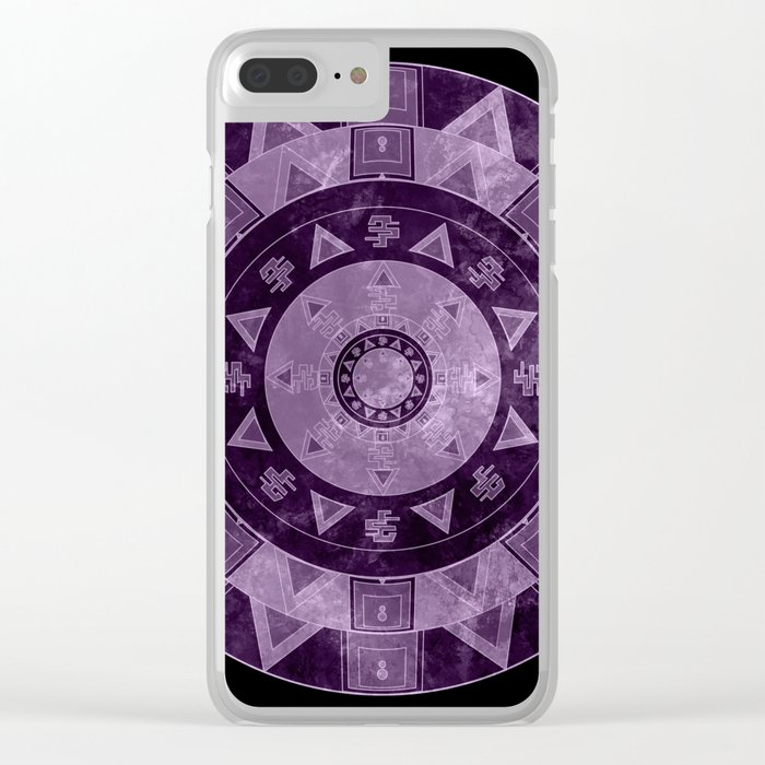 ethnic circle with watercolors Clear iPhone Case