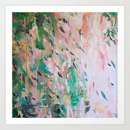 Abstract - emerald green & pink Art Print
