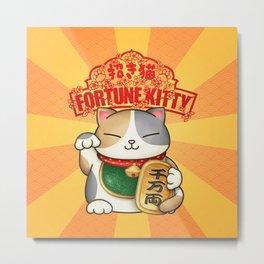 Maneki Neko Fortune Kitty Metal Print