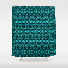 Abstract Pattern Dividers 07 in Turquoise Black Shower Curtain