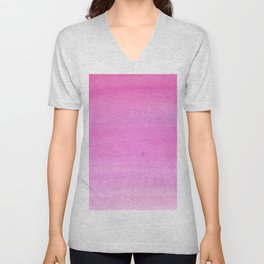Modern hand painted pink watercolor gradient pattern Unisex V-Neck