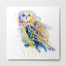 Short Eared Owl Watercolor painting Metal Print