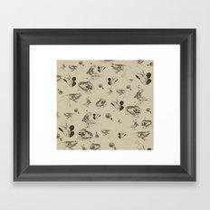 Lizards pattern (sepia) Framed Art Print