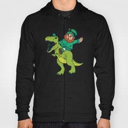 St Patricks Day Leprechaun Trex Dinosaur Kids Boys Hoody
