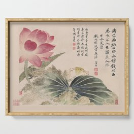 Vintage Chinese Ink and Brush Painting and Calligraphy Serving Tray