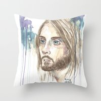 jared leto Throw Pillows featuring Leto by SirScm