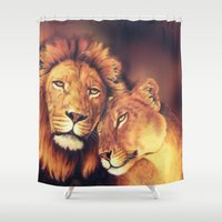 lions Shower Curtains featuring Lions Soulmates by Moody Muse